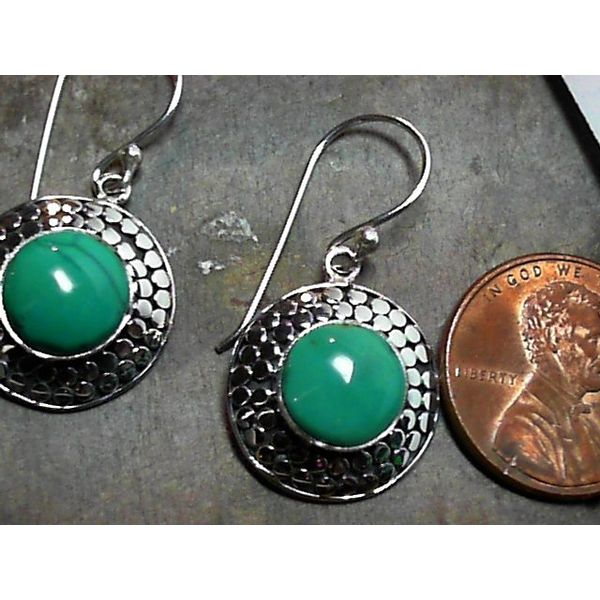 Silver Double Dot Designer Wire Earrings with Turquoise Image 2 Bluestone Jewelry Tahoe City, CA