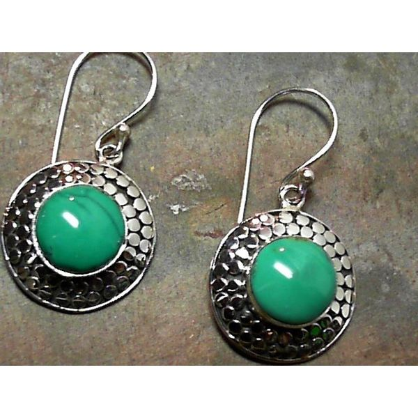 Silver Double Dot Designer Wire Earrings with Turquoise Bluestone Jewelry Tahoe City, CA
