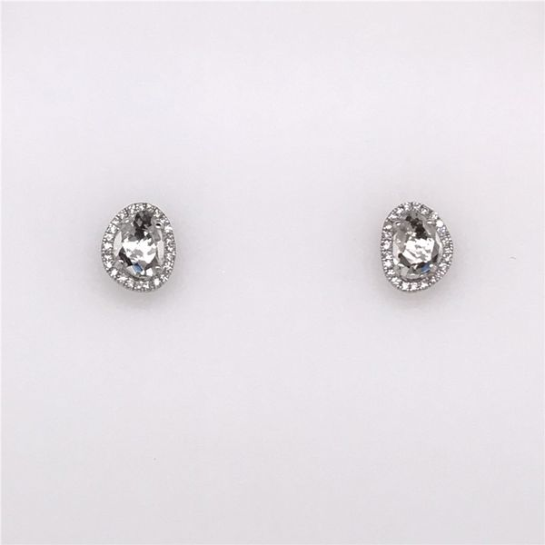 14K White Gold Earrings w/ White Topaz center stones & Diamonds Bluestone Jewelry Tahoe City, CA