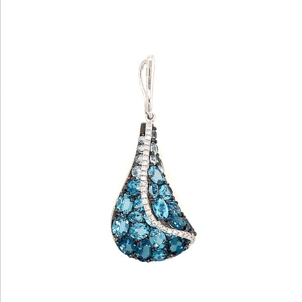 14 Karat White Gold Pendant with London Blue Topaz, Sky Blue & Swiss Blue Topaz & Diamonds Bluestone Jewelry Tahoe City, CA