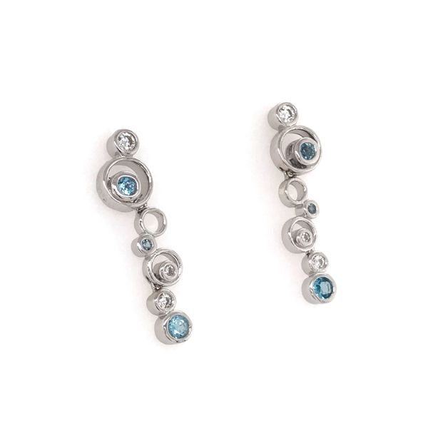 Silver w/ Rhodium Plating Earring w/ Blue Topaz &  CZ's Image 2 Bluestone Jewelry Tahoe City, CA
