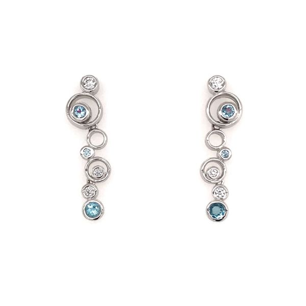 Silver w/ Rhodium Plating Earring w/ Blue Topaz &  CZ's Bluestone Jewelry Tahoe City, CA
