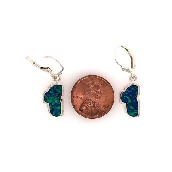 Sterling Silver Medium Lab Grown Opal Lake Tahoe Earrings Image 2 Bluestone Jewelry Tahoe City, CA