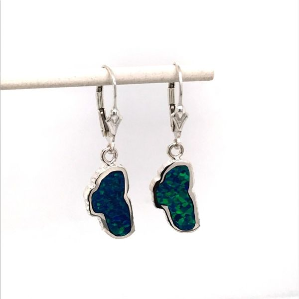 Sterling Silver Medium Lab Grown Opal Lake Tahoe Earrings Bluestone Jewelry Tahoe City, CA