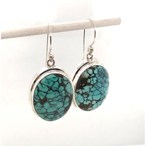 Sterling Silver Wire Earrings with Two Oval Turquoises Gemstones Bluestone Jewelry Tahoe City, CA