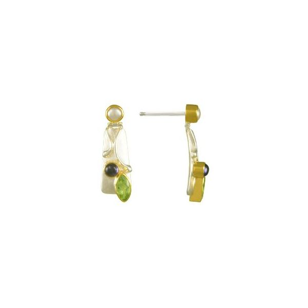 Silver & 22KYG Earrings w/ Peridot, Iolites & Pearls Image 2 Bluestone Jewelry Tahoe City, CA