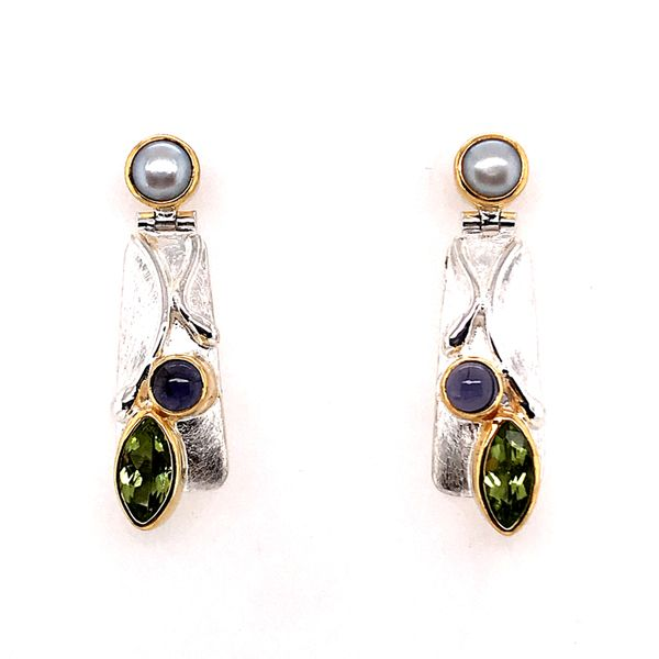 Silver & 22KYG Earrings w/ Peridot, Iolites & Pearls Bluestone Jewelry Tahoe City, CA