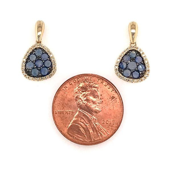 14 Karat Yellow Gold Earrings with Rose Cut Blue Sapphires and Diamonds Image 2 Bluestone Jewelry Tahoe City, CA