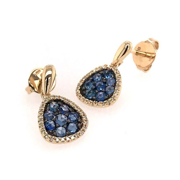14 Karat Yellow Gold Earrings with Rose Cut Blue Sapphires and Diamonds Bluestone Jewelry Tahoe City, CA