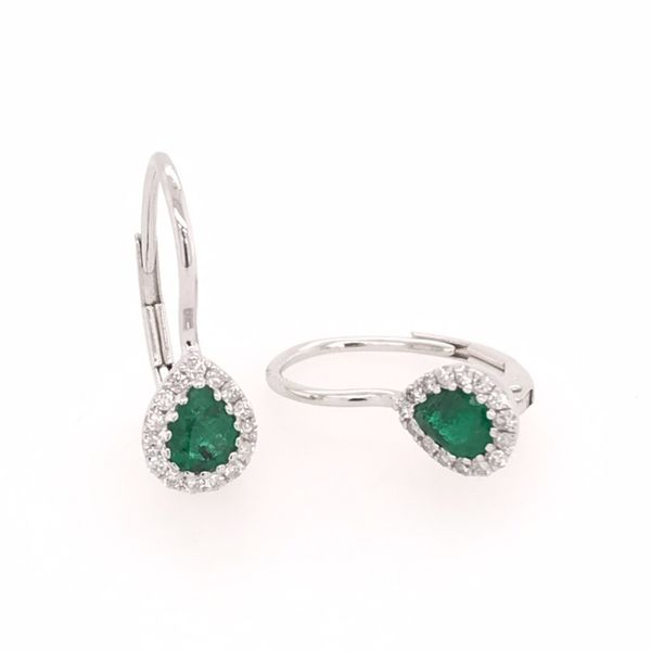 14 Karat White Gold Earrings with Emeralds and Diamonds Image 2 Bluestone Jewelry Tahoe City, CA