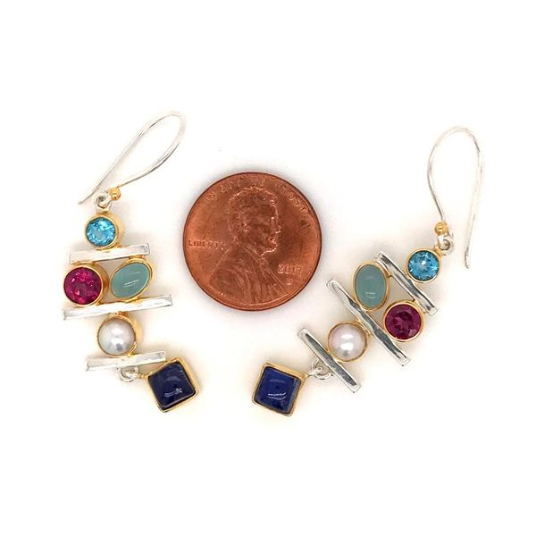 Sterling Silver and 22K Gold Earring with Topaz, Rhodolite Garnet, Agate, Moonstone and Pearl Image 2 Bluestone Jewelry Tahoe City, CA