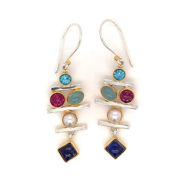 Sterling Silver and 22K Gold Earring with Topaz, Rhodolite Garnet, Agate, Moonstone and Pearl Bluestone Jewelry Tahoe City, CA