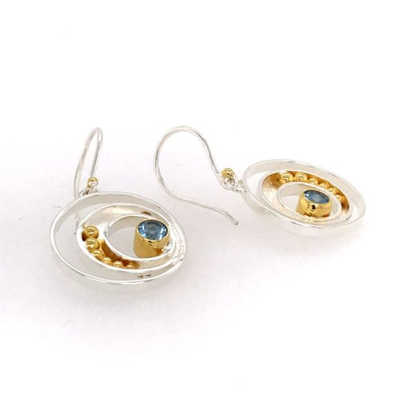 Sterling Silver and 22 Karat YG Earrings with Topaz Image 2 Bluestone Jewelry Tahoe City, CA