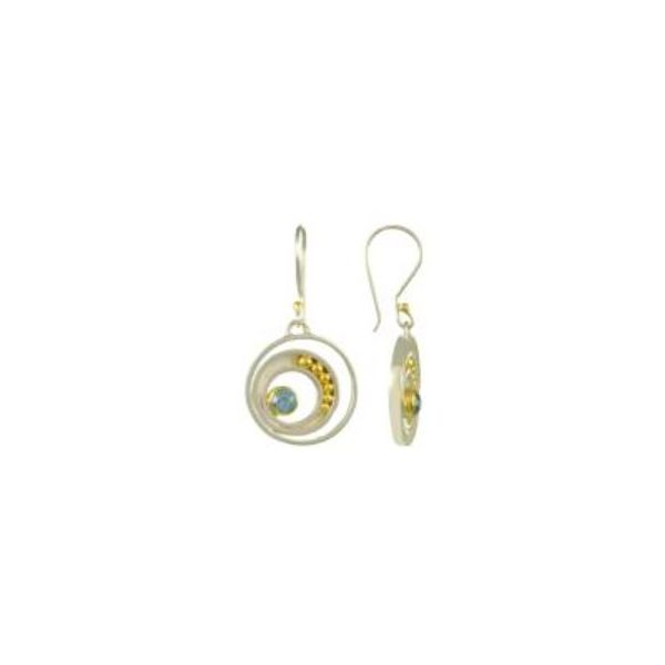Sterling Silver and 22 Karat YG Earrings with Topaz Image 3 Bluestone Jewelry Tahoe City, CA