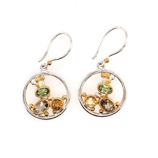 Sterling Silver and 22 Karat YG Earrings with Citrine, Peridot and Champagne Quartz Bluestone Jewelry Tahoe City, CA
