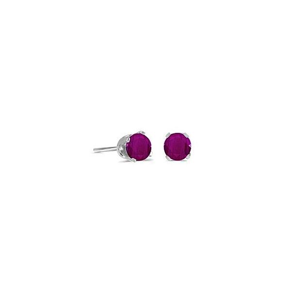 14 Karat White Gold Stud Earrings with Round 5mm Ruby Bluestone Jewelry Tahoe City, CA