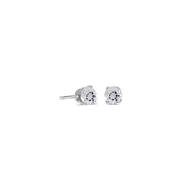 14 Karat White Gold Stud Earrings with Round 5mm White Topaz Bluestone Jewelry Tahoe City, CA