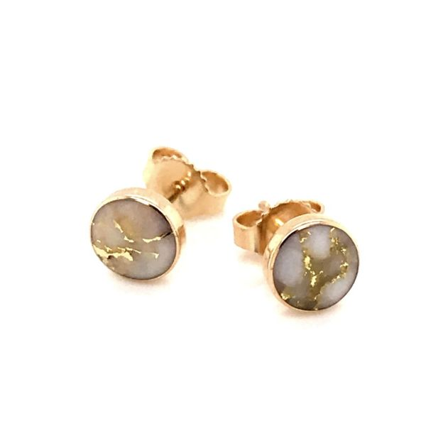 14kt YG Gold Quartz Earrings 6mm Bluestone Jewelry Tahoe City, CA
