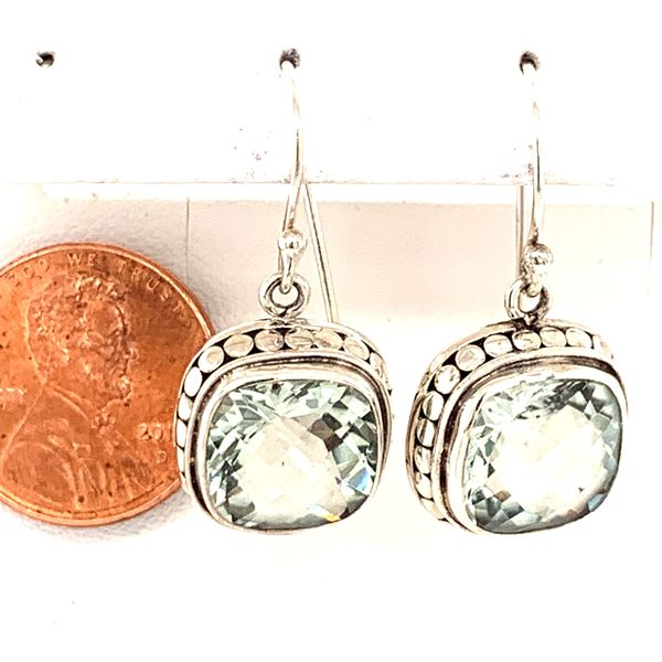 Sterling Silver Earrings w/ Cushion Cut Green Amethyst gemstones. Image 2 Bluestone Jewelry Tahoe City, CA