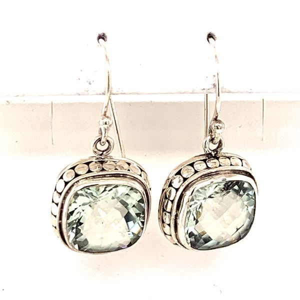 Sterling Silver Earrings w/ Cushion Cut Green Amethyst gemstones. Bluestone Jewelry Tahoe City, CA