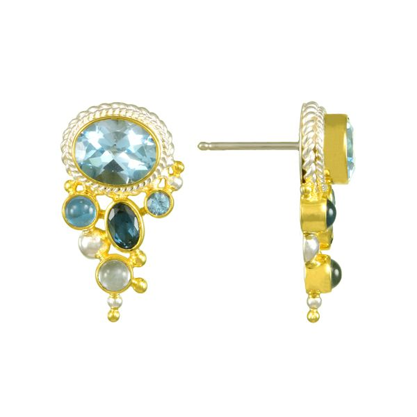 Silver and 22 Karat Yellow Gold Vermeil Earrings with Topaz Bluestone Jewelry Tahoe City, CA