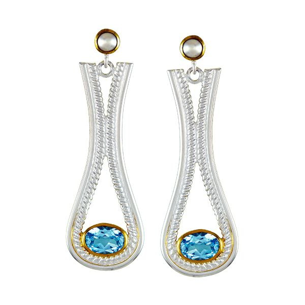 Silver & 22K YG Earrings with Topaz and Pearls Bluestone Jewelry Tahoe City, CA