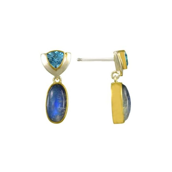 Silver & 22K YG Earrings w/ Rainbow Blue Moonstones & Blue Topaz Bluestone Jewelry Tahoe City, CA