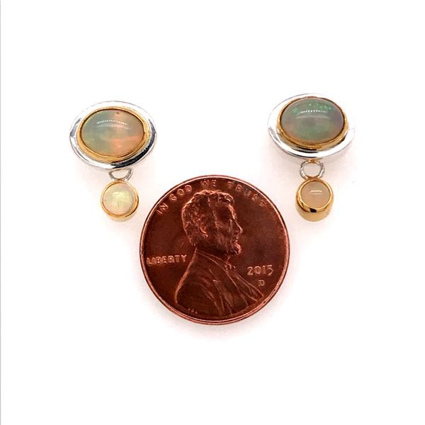 Silver and 22 Karat Yellow Gold Earrings with Ethiopian Opals Image 2 Bluestone Jewelry Tahoe City, CA