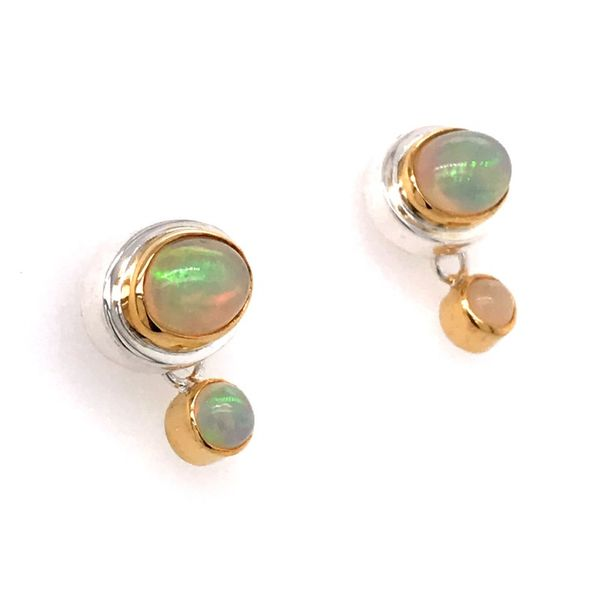 Silver and 22 Karat Yellow Gold Earrings with Ethiopian Opals Bluestone Jewelry Tahoe City, CA