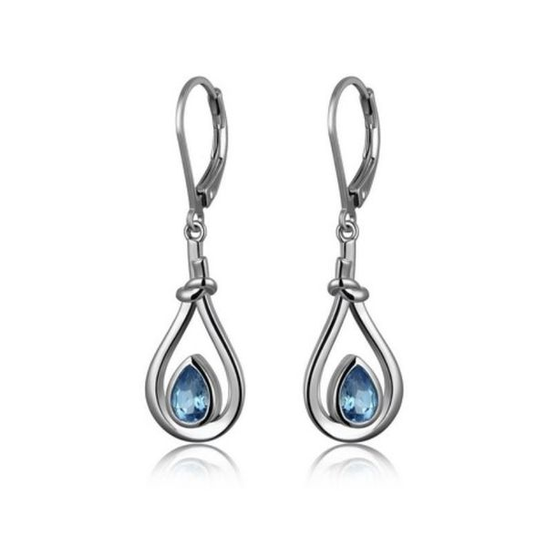 Silver w/ Rhodium Plating Earring w/ Swiss Blue Topaz Bluestone Jewelry Tahoe City, CA