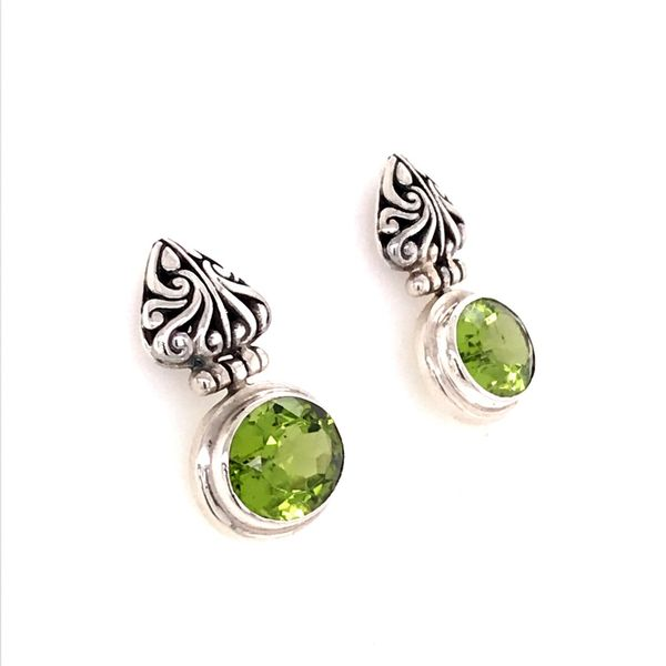 Sterling Silver Post Earrings with Two Oval Peridots Image 2 Bluestone Jewelry Tahoe City, CA