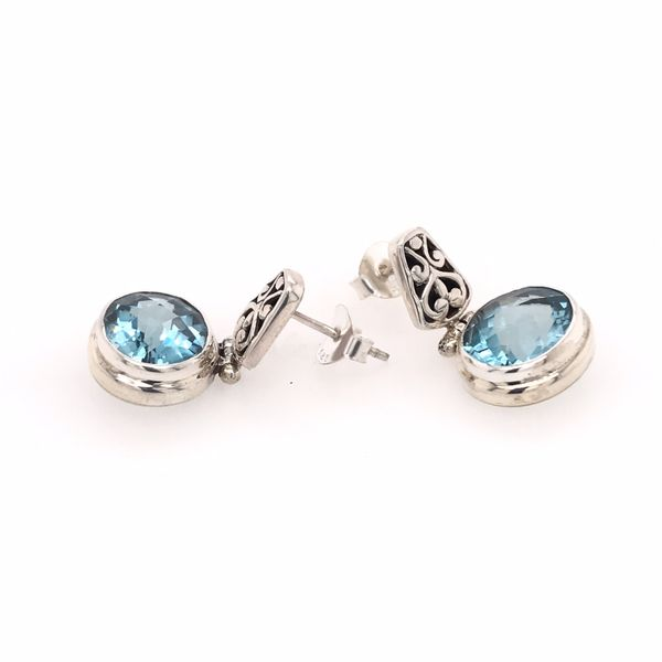 Silver Blue Topaz Earrings Image 2 Bluestone Jewelry Tahoe City, CA