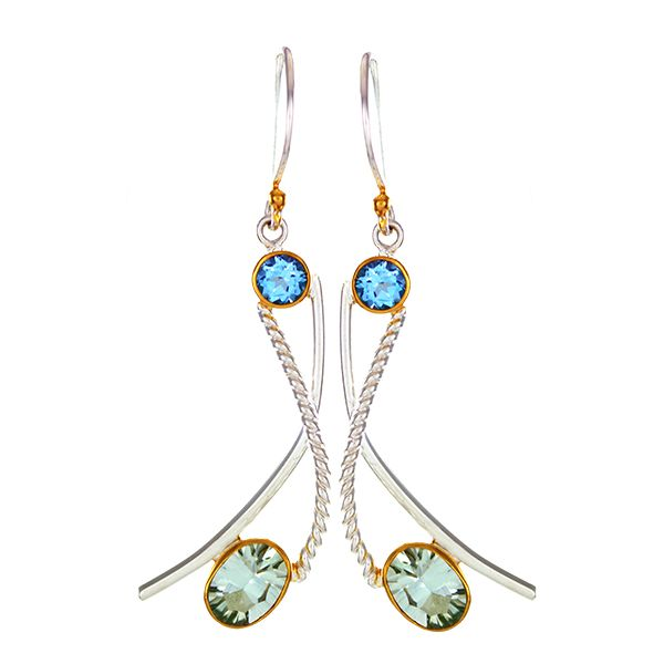 Silver & 22K YG Earrings with Topaz and Green Ameythist Bluestone Jewelry Tahoe City, CA