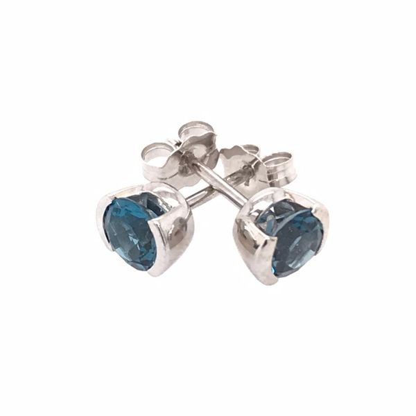 14 Karat White Gold Semi Bezel London Blue Topaz Earrings Image 2 Bluestone Jewelry Tahoe City, CA