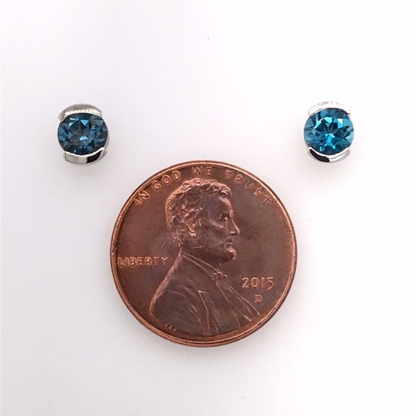 14 Karat White Gold Semi Bezel London Blue Topaz Earrings Image 4 Bluestone Jewelry Tahoe City, CA