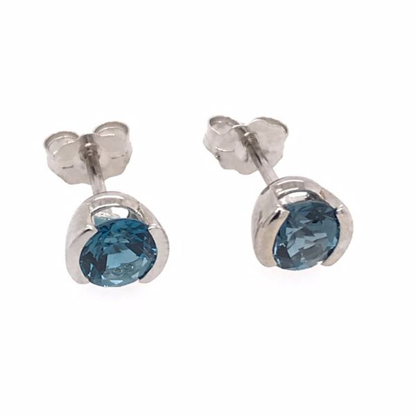 14 Karat White Gold Semi Bezel London Blue Topaz Earrings Bluestone Jewelry Tahoe City, CA