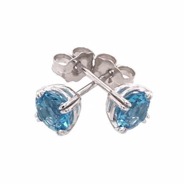 14 Karat White Gold Four Prong Swiss Blue Topaz Earrings Image 2 Bluestone Jewelry Tahoe City, CA