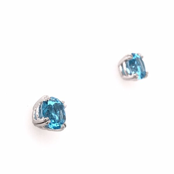 14 Karat White Gold Four Prong Swiss Blue Topaz Earrings Image 3 Bluestone Jewelry Tahoe City, CA