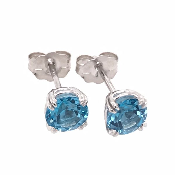 14 Karat White Gold Four Prong Swiss Blue Topaz Earrings Bluestone Jewelry Tahoe City, CA