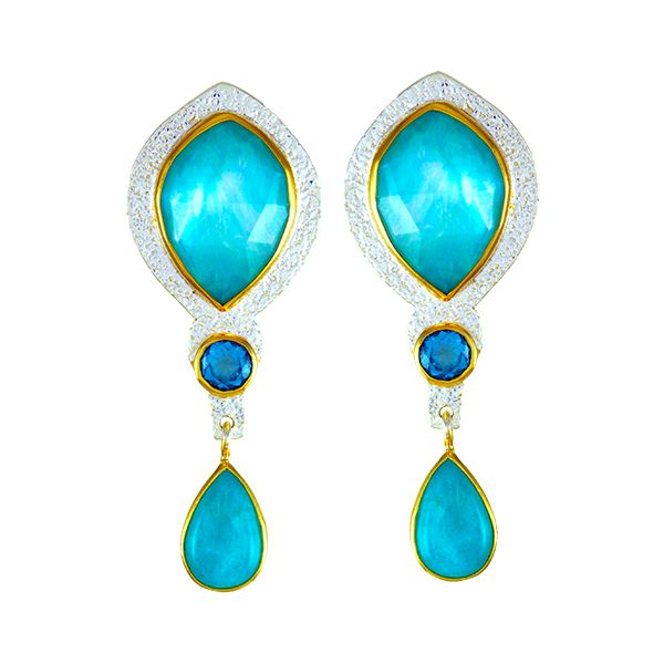 Silver and 22 Karat Yellow Gold Vermeil Earrings with Mother of Pearl, Amazonite and Topaz Bluestone Jewelry Tahoe City, CA
