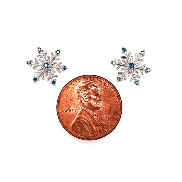 Sterling Silver Snowflake Earrings with Blue Diamonds Image 2 Bluestone Jewelry Tahoe City, CA