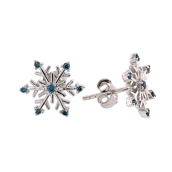 Sterling Silver Snowflake Earrings with Blue Diamonds Bluestone Jewelry Tahoe City, CA