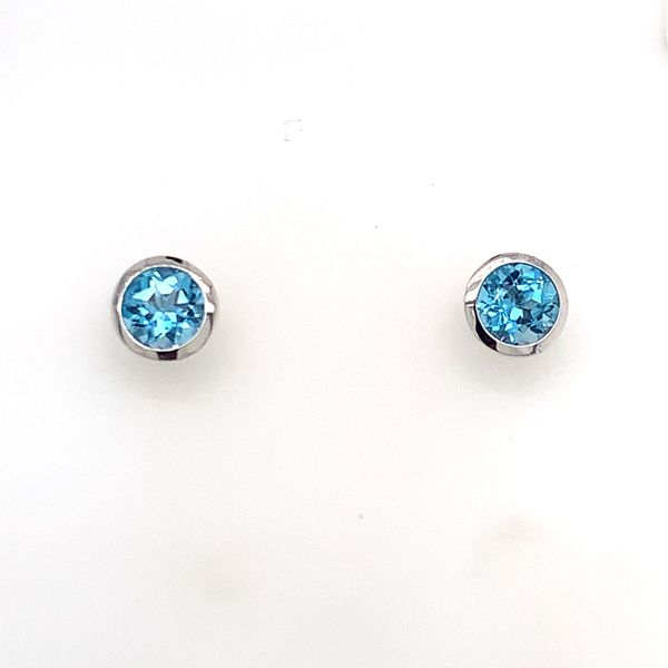14K White Gold Stud Earrings w/ Blue Topaz Image 2 Bluestone Jewelry Tahoe City, CA