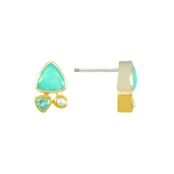 Silver and 22 Karat Yellow Gold Vermeil Earrings with Amazonite, Pearl and Topaz Image 2 Bluestone Jewelry Tahoe City, CA