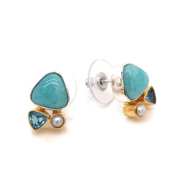 Silver and 22 Karat Yellow Gold Vermeil Earrings with Amazonite, Pearl and Topaz Bluestone Jewelry Tahoe City, CA