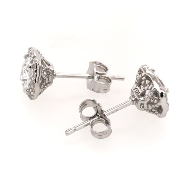Silver w/ Rhodium Plating Stud Earrings w/ CZ's Image 2 Bluestone Jewelry Tahoe City, CA