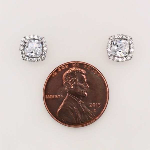 Silver w/ Rhodium Plating Stud Earrings w/ CZ's Image 3 Bluestone Jewelry Tahoe City, CA