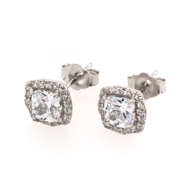 Silver w/ Rhodium Plating Stud Earrings w/ CZ's Bluestone Jewelry Tahoe City, CA