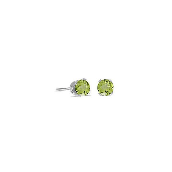 14 Karat White Gold 5mm Peridot Stud Earrings Bluestone Jewelry Tahoe City, CA