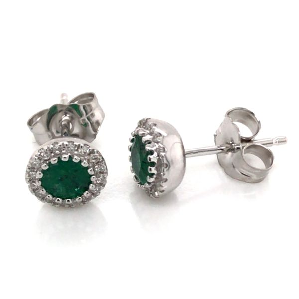 14K White Gold Stud Earrings w/ Emeralds & Diamonds(overall approx.6.2mm each) Image 2 Bluestone Jewelry Tahoe City, CA